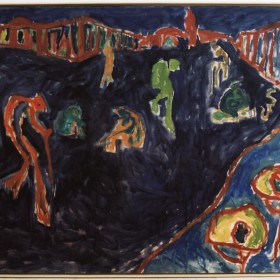 """La plaza Djmaa"" 150 x 200 cm. Óleo sobre tela. 1986"