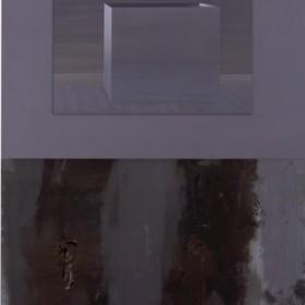 """Background, Incident, Foreground XLIII"" - 180 x 122 cm - oleo sobre tela, Madera y cristal - 1995"