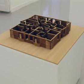 """""""Planta de Habitaciones Prohibidas"""" 9,5 x 70 x 70 cm. Madera de cedro rojo. 2013"""