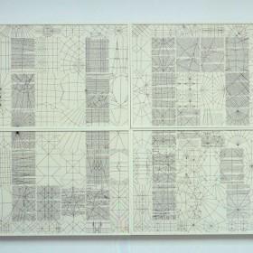 """Art & Language: """"Index 18"""", 202 x 150 cm, obra compuesta de 8 piezas enmarcadas individualmente, cada una de 101 x 127cm. Collage y técnica mixta, 2002."""